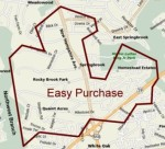 Easy Purchase located on a modern map of the area around Colesville, Md.