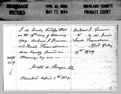 Andrew J. Turner Marriage Record